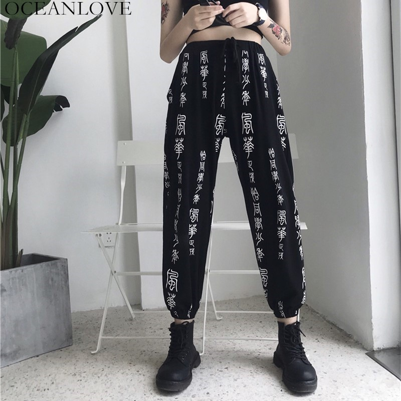 OCEANLOVE Print Chinese Character Sweatpants Drawstring Loose Streetwear Ankle-length Pants 2019 Spring High Waist Trouser 11294 1