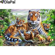 DIAPAI Diamond Painting 5D DIY 100% Full Square/Round Drill Animal tiger familyDiamond Embroidery Cross Stitch 3D Decor A24838