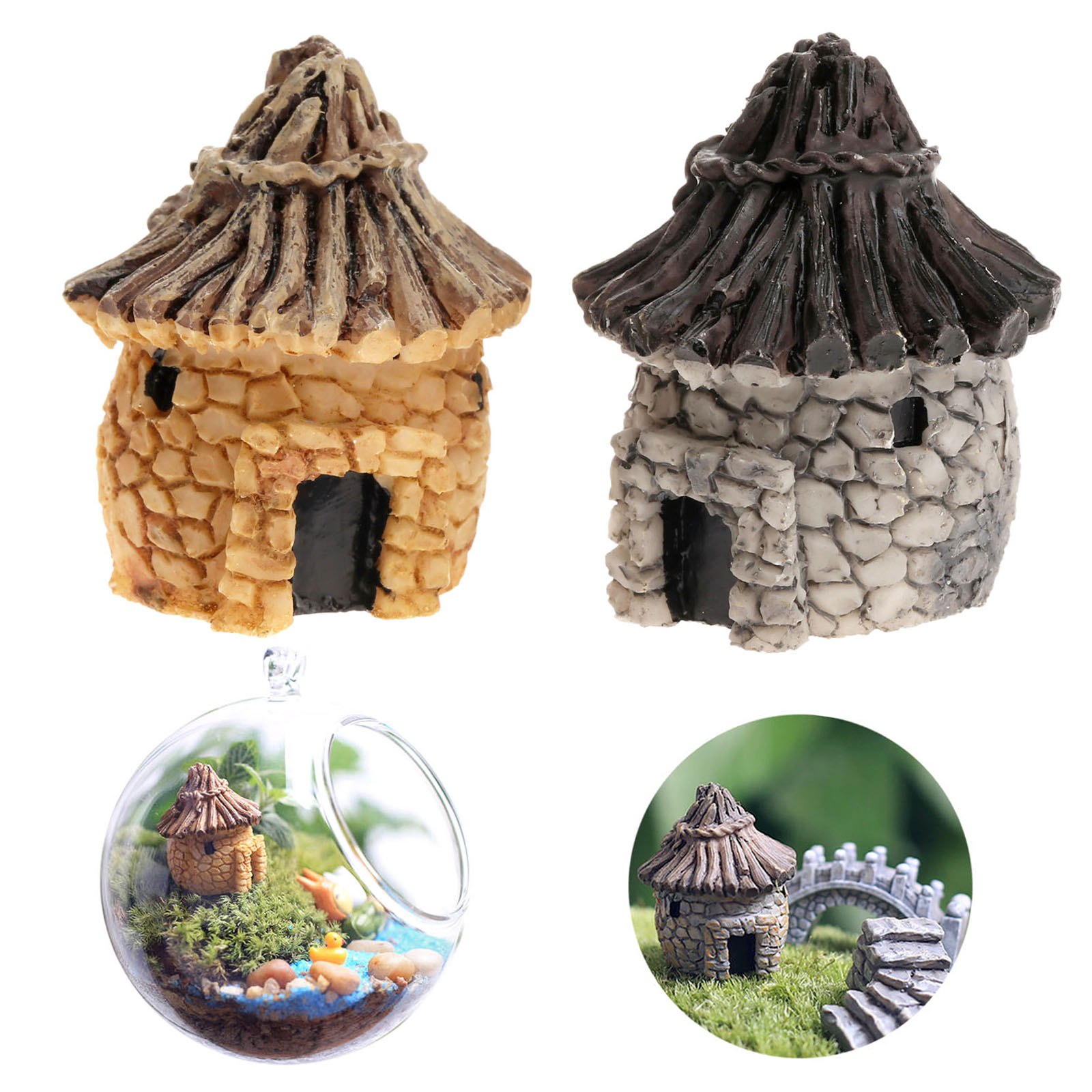 New fashion cute resin crafts house fairy garden miniatures gnome Micro landscape decor bonsai for home decor