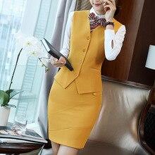 IZICFLY стиль формальный жилет и жилет плюс размер женские костюмы бизнес с юбкой и курткой Брюки наборы офисная форма стили