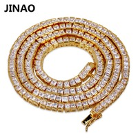 JINAO Hip Hop 4mm Necklaces Micro Pave AAAA+ Cubic Zirconia All Iced Out Bling Box Chain Necklace 20,24Available