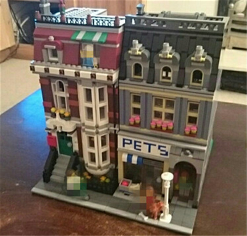 City Street Pet Shop Model Building Kid Blocks Bricks Assembling Toys Compatible Lepins Educational Toy Funny Gift loz mini diamond block world famous architecture financial center swfc shangha china city nanoblock model brick educational toys