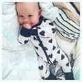 6 M-36 M Outono Amor Impressão Infantil Do Bebê Macacão de Bebê Recém-nascido Da Menina do Menino Roupas Crianças Roupas Um Pedaços macacão de Bebê Trajes de Bebes