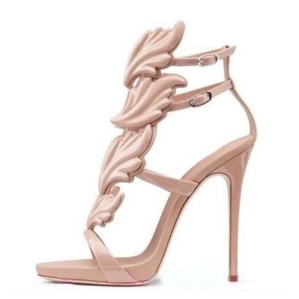 Sexy Women Metallic Wing Sandals Cut-out Gladiator High Heels Shoes Women Metallic Winged Sandals 2018 Summer Dress Shoes Silver hottest golden metallic leather wing sandals silver gold red gladiator high heels shoes women metallic winged sandals
