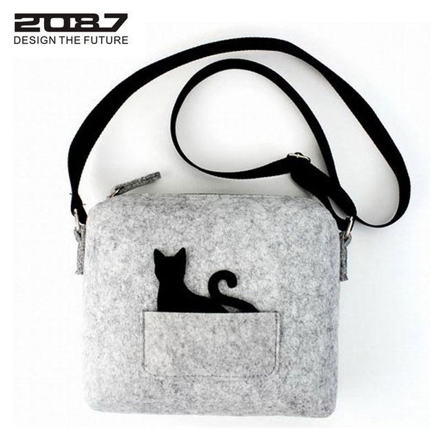 2087 New Designer Brand Cute Small Messenger Bag Handbag Cat Funny
