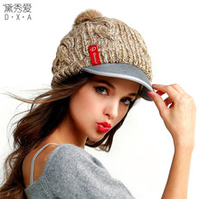 Hat female winter autumn and winter knitted hat ear cap male thermal knitted hat