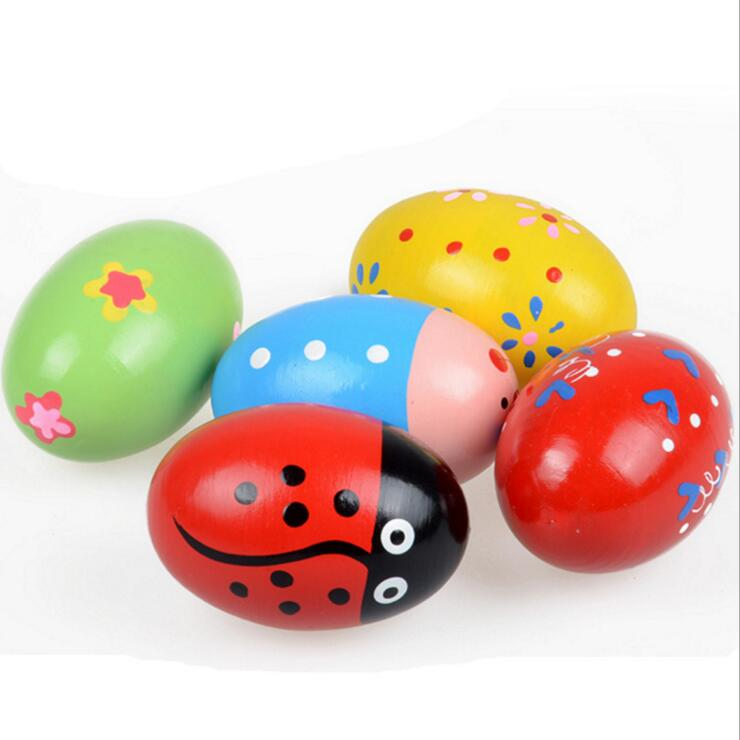 Children Wooden Sand Eggs Instruments Percussion Musical Toys Colors Random