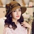 Reina Elegante Arco Femenino Británico de Lana Fedora Sombrero Grandes Sombreros de Ala Ancha Para El Partido