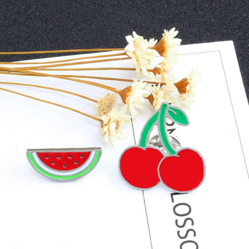 Cartoon Spilla Dello Smalto del Metallo Pins Badge Pulsante Pin Apple Anguria Ananas Gatto Attesa Banana Cherry Pin Gioielli Giacca di Jeans