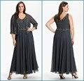 2016 Cinza Escuro Plus Size Mãe dos Vestidos de Noiva com Jaqueta de Chiffon A Linha Applique Beading Mãe dos vestidos de Noivo vestidos