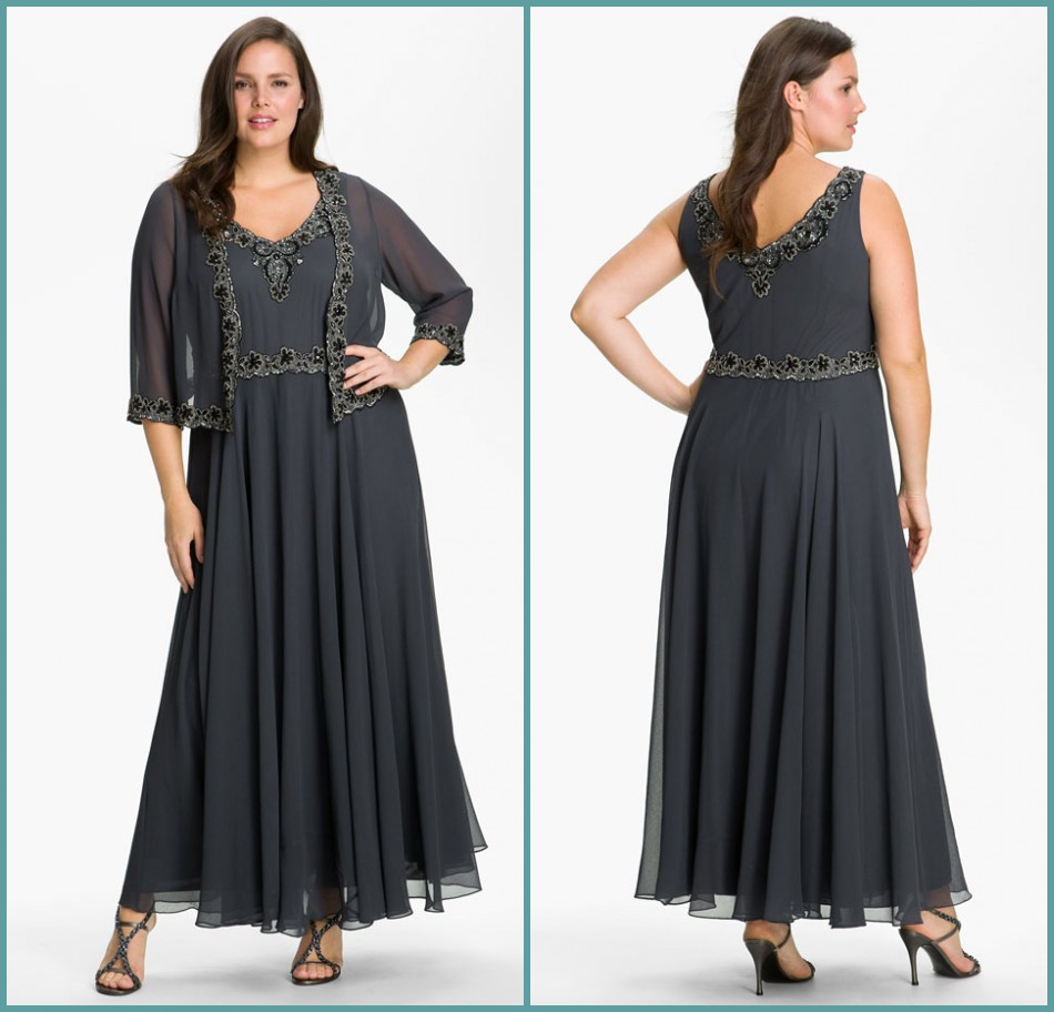 2016 Dark Grey Plus Size Mother Of The Bride Dresses With
