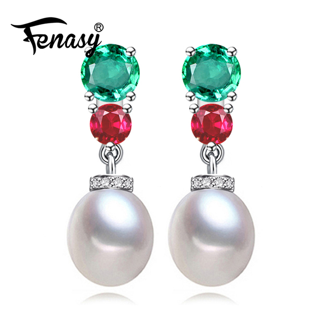 Fenasy Pearl Emerald Long Earrings Ruby Jewelry For Women 925 Sterling Silver Punk Hanging
