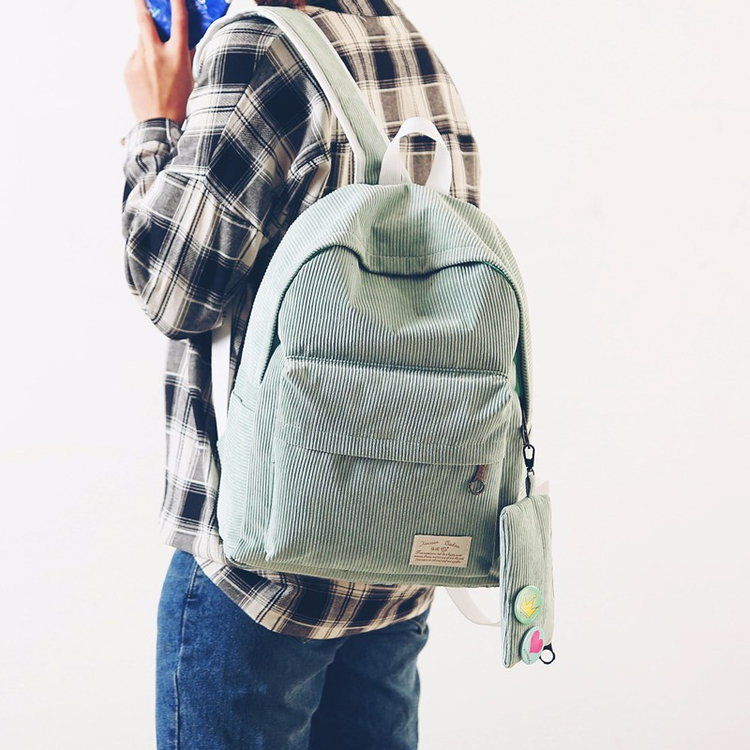 Corduroy backpack female college students travel bag contracted wind restoring ancient ways backpack