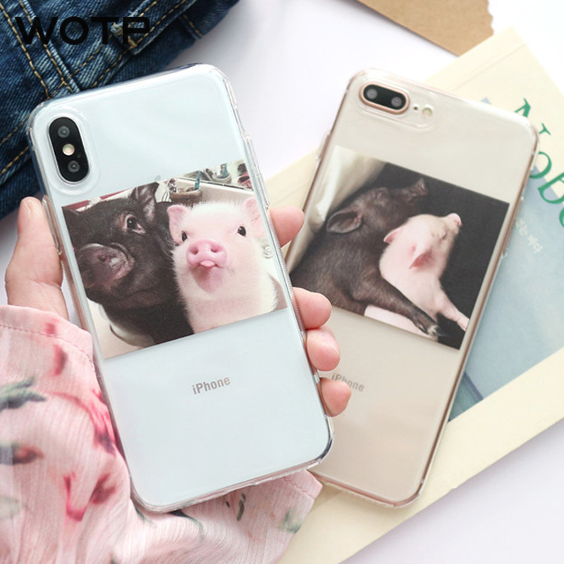 WOTP Funny Cartoon Pig Couples Phone Case For iphone 7 6 6S 8 Plus Soft TPU illustration Lovely Back Cover For iphone X Fundas