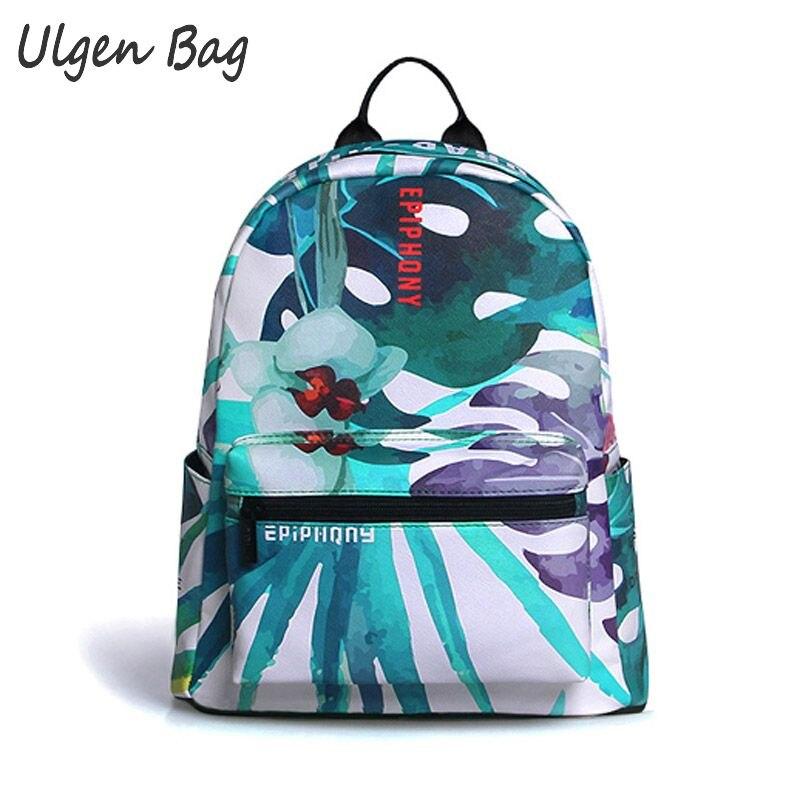 ФОТО Waterproof Womens PU Backpacks Preppy style backpack for students tree Priting School Bagpack casual Daypacks