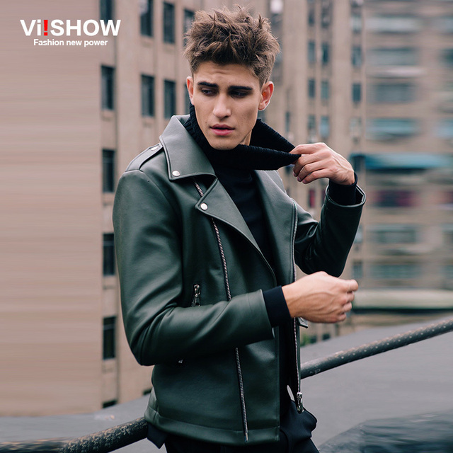 Aliexpress.com : Buy Viishow Leather Jacket Men Motorcycle Casual ...