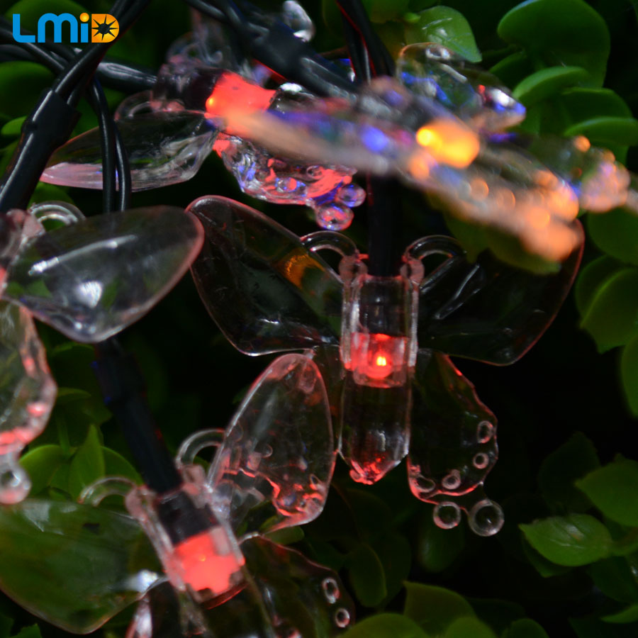 LMID Solar Lampor Färgglada Butterfly Garland Fairy Luces Vattentät Jul Utomhus Garden Solar LED Decoration Light