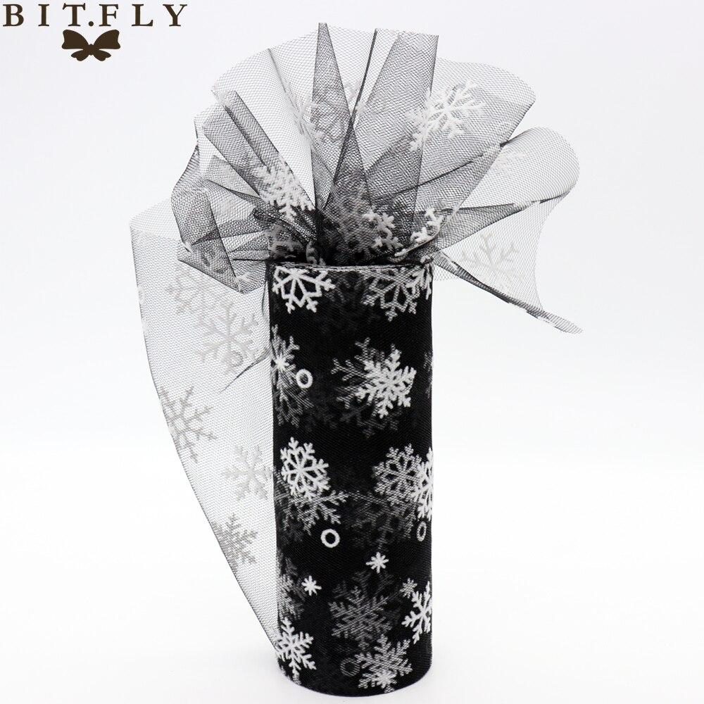 BITFLY 15cm*10yard Organza Sheer Snowflake Tulle Roll Gift Bow Fabric DIY Craft Tutu Skirt Wedding Party Christmas Decoration