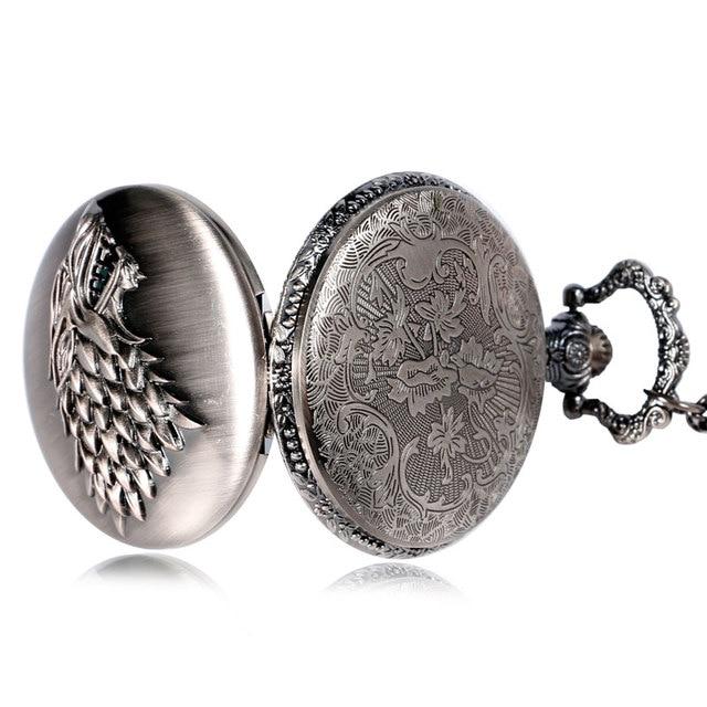 Game of Thrones Stark House Symbol Vintage Pocket Watch Necklace Direwolf Pattern Quartz Pocket Watches Gifts for Men Women 4