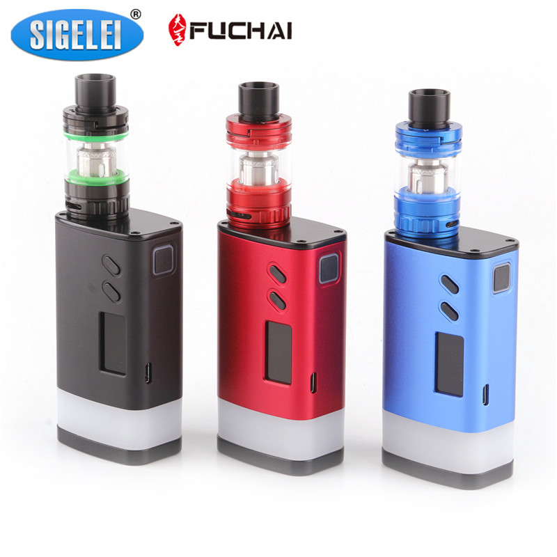 Genuine Sigelei Fuchai GLO 230W Starter Kits with SLYDR M Atomizer 6 Optional LED Colors Dual 18650 Box Mod Kit electronic cigarette fuchai glo vape kit comes 2 8ml slydr m atomizer tank glo 230w box mod vs sigelei 213 plus vaporizer