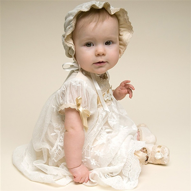 2016 New Baby Girl Christening Gowns Ivory Color Birthday Baby 100% Silk Ribbon in Gold Dress Baby Girl Baptism Dresses