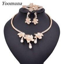 2019 nouveau nigéria luxe populaire mariage fleur bijoux ensemble Dubai or perle collier Bracelet boucles doreilles anneau ensemble 003
