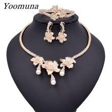 2019 nuevo conjunto de joyería de flores de boda Popular de lujo de Nigeria Dubai pulsera y collar con cuentas de oro pendientes anillo conjunto 003
