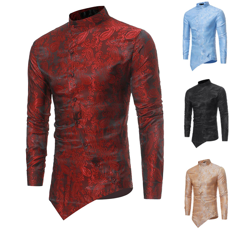 Paisley Foil Print Slant Cut Open Shirt Men Oblique Button-Up Stand Collar Irregular Top Vintage Long Sleeves Fit Top For Men