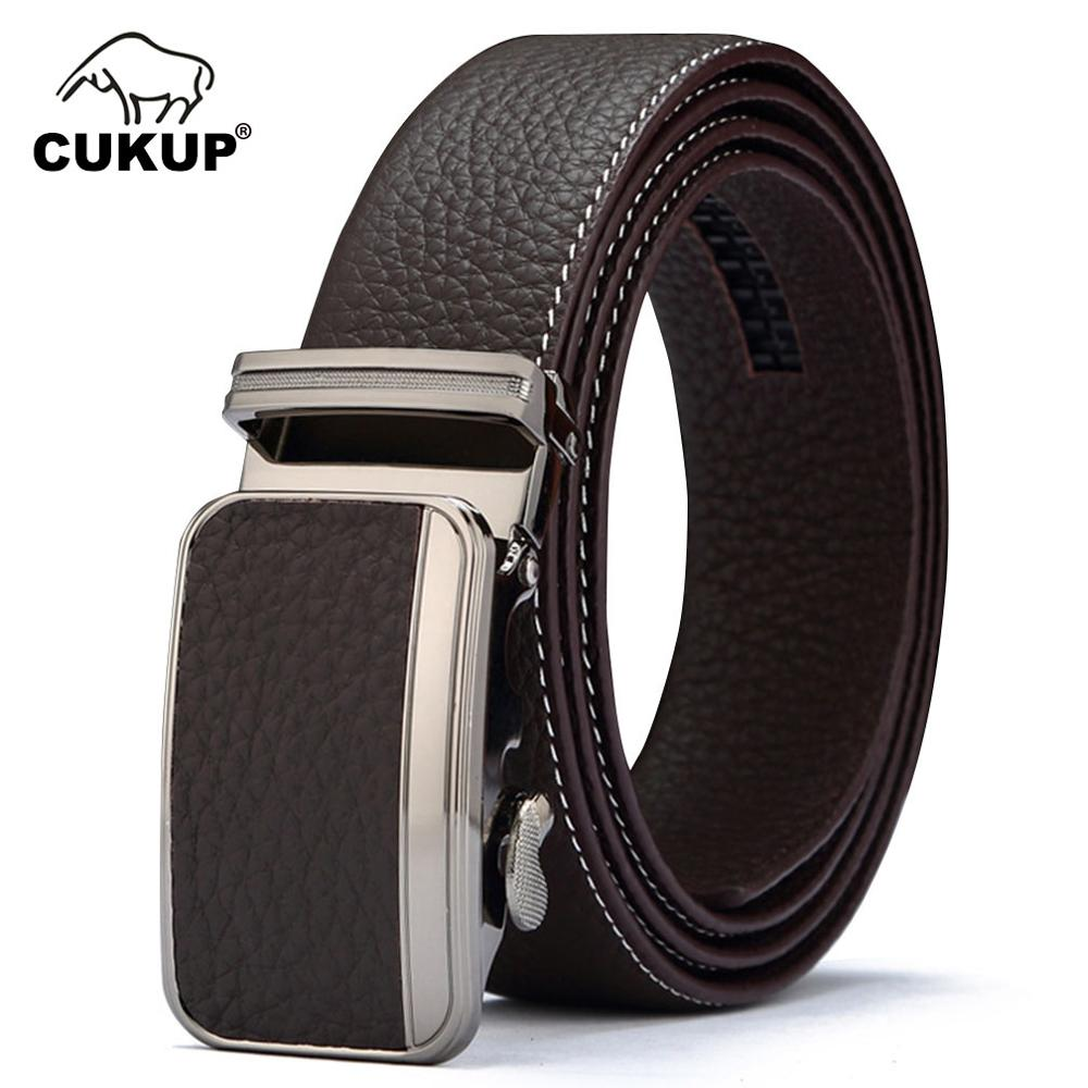 CUKUP 2018 New Top Quality 1st Layer Cowskin Leather Belts Automatic Buckle Metal Waistbands Belt Men