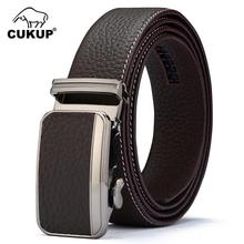 CUKUP 2018 New Top Quality 1st Layer Cowskin Leather Belts Automatic Buckle Metal Waistbands Belt Men Fashion Accessories NCK417