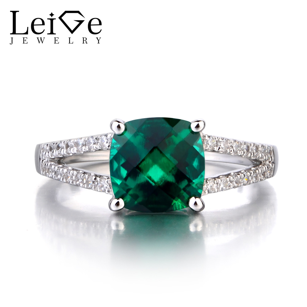 Leige Jewelry 925 Sterling Silver Lab Emerald Ring May Birthstone Gemstone Cushion Cut Promise Engagement Rings for WomenLeige Jewelry 925 Sterling Silver Lab Emerald Ring May Birthstone Gemstone Cushion Cut Promise Engagement Rings for Women