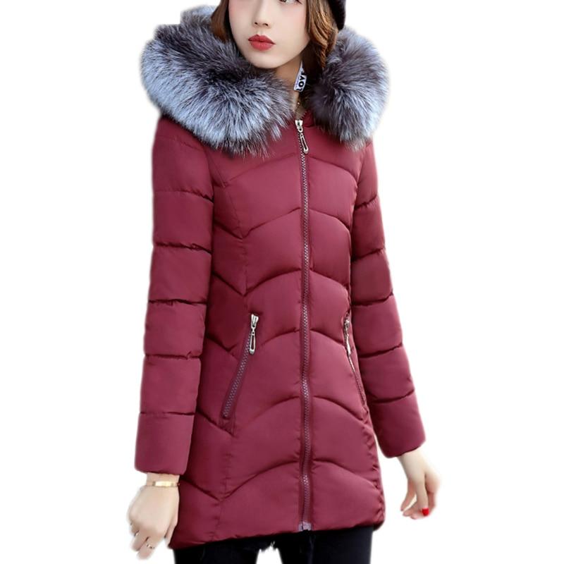 winter coat autumn Korean version of the Slim cotton women in the long section Big fur collar cotton coat winter coat female цены онлайн