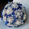 Envío libre Azul rojo Hydrangea cristal broche ramo de la boda ramos de novia azul Real estilo Ramo de la Novia de dama de Honor