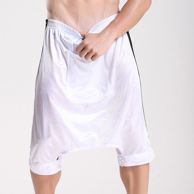 Mens Casual Short Fashion Trousers Solid Color Wide Leg Skirt Shorts Man Loose Harem Open Crotch Pocket Shorts