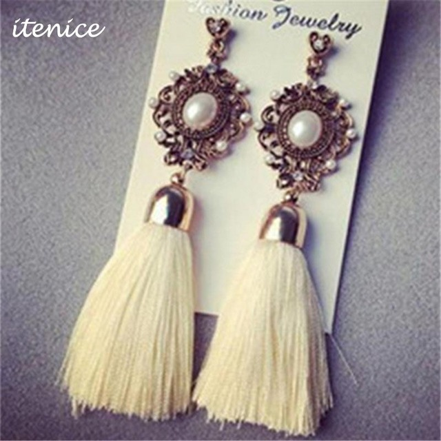 Retro Royal Pearl Long Gem Tassel Fringing Earring Rhinestone Yarn Ethnic Wire Fashion Drop Earrings Jewelry Accessory for Women