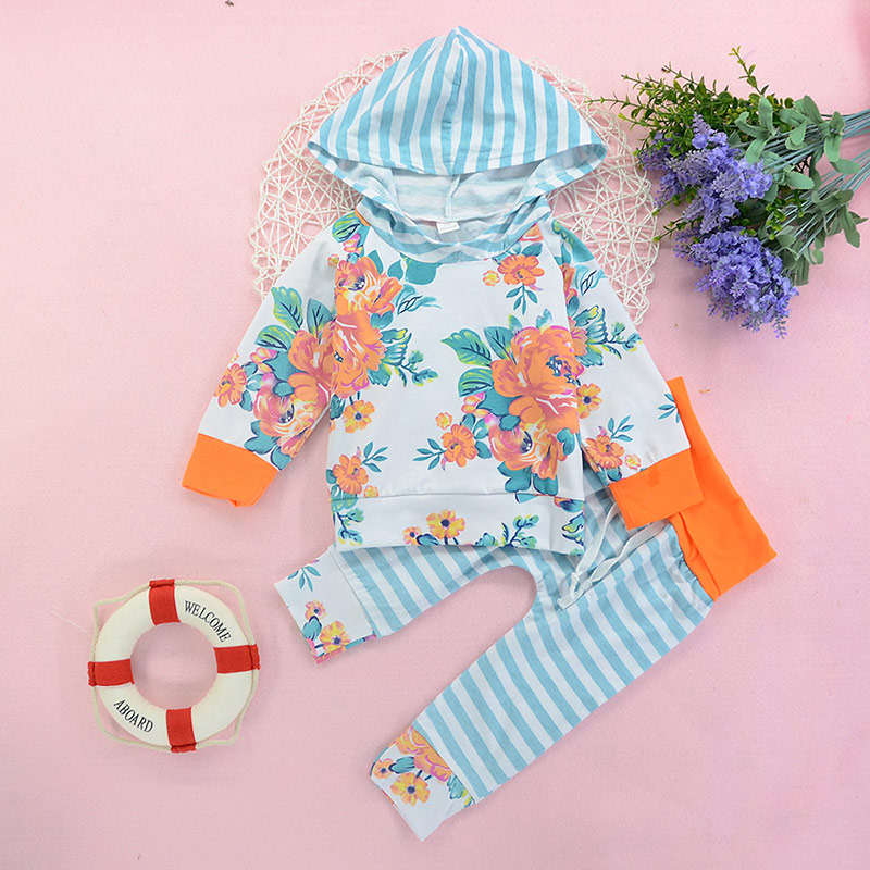 Baby girls clothes set Autumn Floral printed 2pcs outfits sets Hoodie Tops+Pants Infant Toddle Kids baby girl clothing