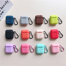 Liquid silicone Case For Airpods Shockproof Earphone Protective Cover Waterproof cute Headset Accessories with keychain