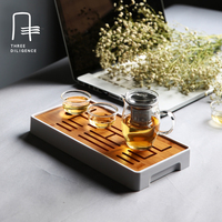 Portable Travel Bamboo Tray PlasticTea Tray Rectangle Traditional Bamboo Puer Tea Plate Teaboard Hot Sale