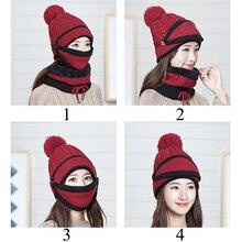 Женские зимние вязаные шапочки с теплой маской и шейным шарфом, утолщенная шапка для водителя, комплекты для женщин