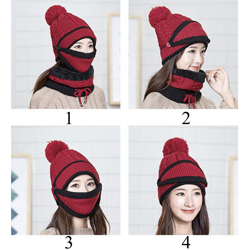 Women Winter Knitted Beanies With Warm Mask And Neck Scarf Thickened Hat Driver Windstop Sets For Women
