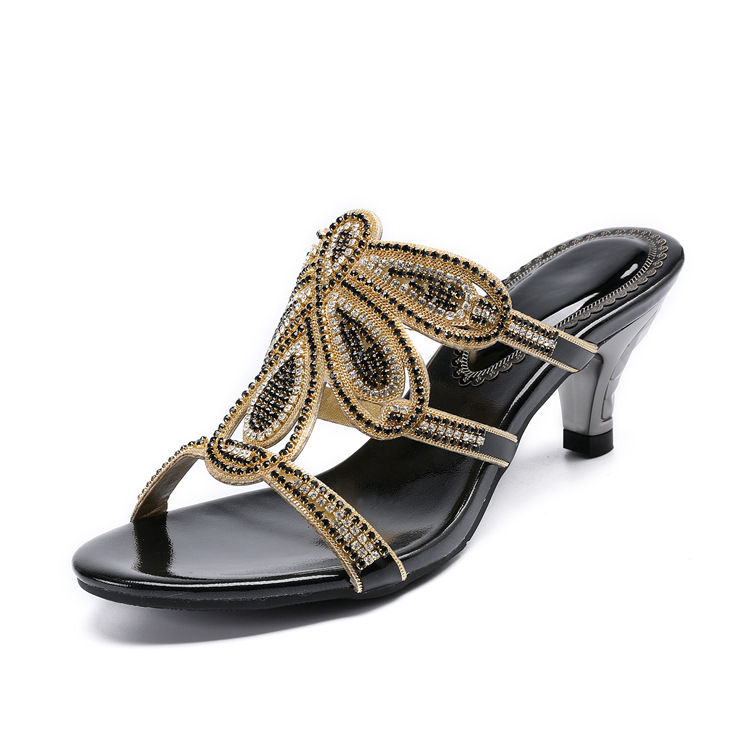 New Luxury Diamond Stiletto High Heels Slippers Online Shopping Peep Toe Womens Shoes Sale High Quality Gold Purple Black Red22