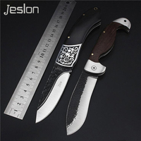 Jeslon Factory Sale Folding Knife Pure Manual Forging 7CR17MOV Camping Hunting Survival Rescue Pocket Knives With
