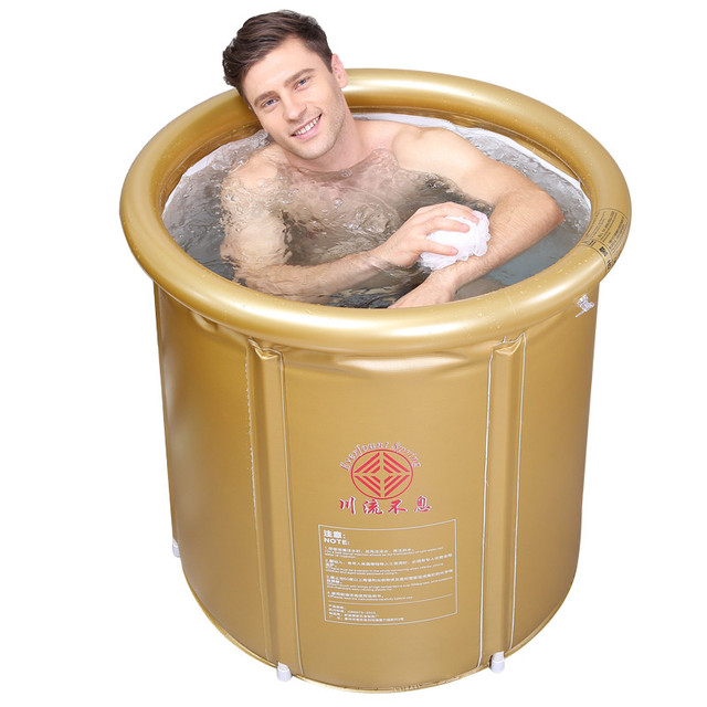 Size 75*80cm,With Lid and Pump, Heated thermostatic Folding Thickening Insulation Bath Bucket Adult Inflatable Household Bucket