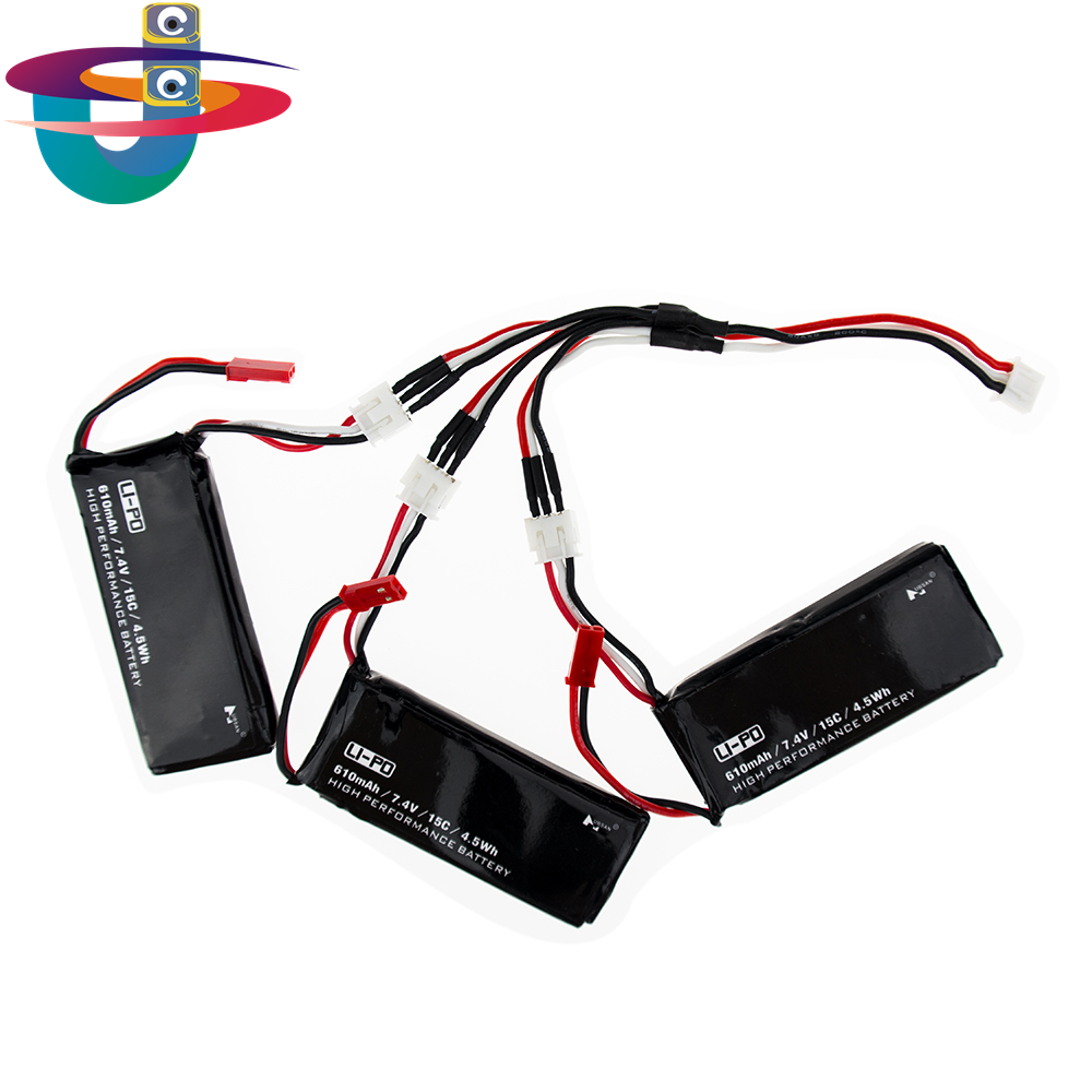 Hubsan H502S lipo battery 7.4V 610mAh 15C 4.5Wh batteries 3pcs and charger cable JST plug For H502E rc Quadcopter drone Parts 3pcs battery and european regulation charger with 1 cable 3 line for mjx b3 helicopter 7 4v 1800mah 25c aircraft parts