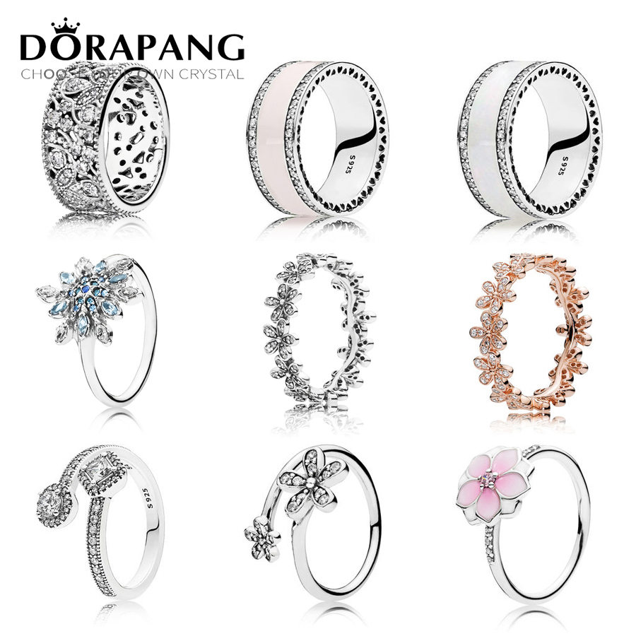 DORAPANG 925 Sterling Silver Marguerite Ring Fleur Rose Blanc Radiant Coeurs Anneau Clair Fit DIY Jewelry Wholesale factory