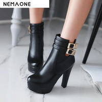 Womens Comfortable Ankle Boots Platform High Heel Booties For Women Fashion Buckle Winter Dress Shoes Black