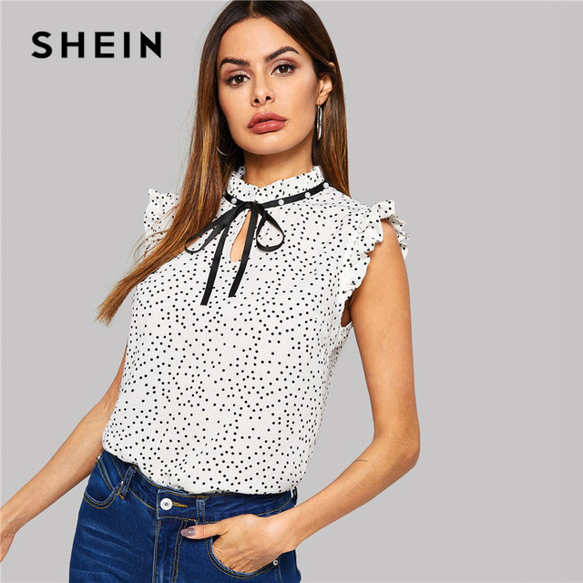 SHEIN White Polka Dot Ruffle Sleeveless Pearls Bow Stand Collar Blouse Women Summer Elegant Weekend Casual Tops and Blouses