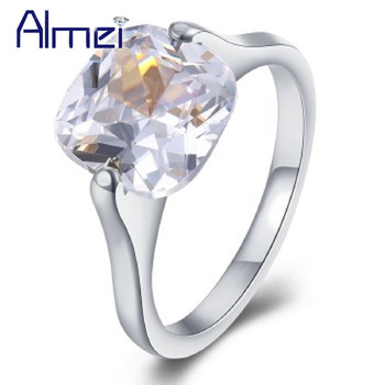 132e9cac3a89 Almei 20% ee.uu. boda cuadrado anillo de piedra mujer joyería de acero  inoxidable anillos Mujer alibaba-expresa joyería Bijouterie TGR191