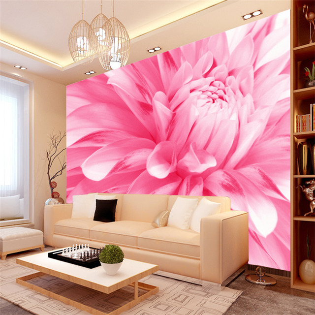 Elegant photo wallpaper roll chrysanthemum wall murals for Floral bedroom decor