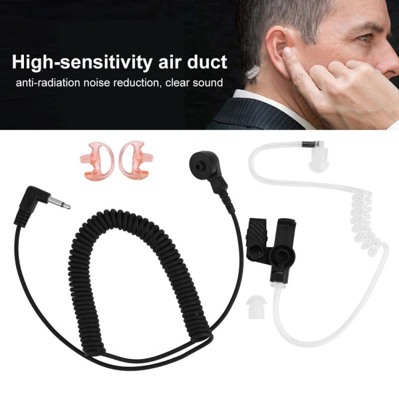 Black Air Duct Covert Acoustic Tube Earpiece Earphone Headset fit Mobile Phone